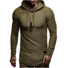 d720a75e7 2018 Men's O-Neck Fold Hooded Tees Male Casual Long Sleeve T shirt Slim Fit  Fitness