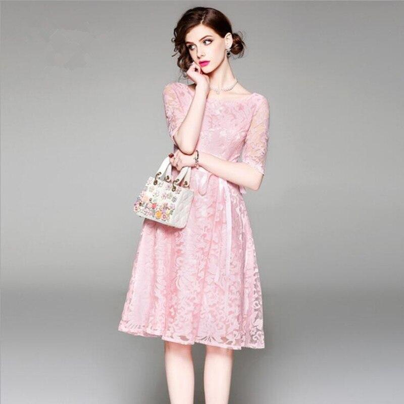 Alta Del Di 2019 Delle Estate Nobile Pink Garza Signore Da Elegante Fashio Ricamato Donne Nuovi Vestito Partito Banchetto Qualità Della Vestiti XSS7Tw1Aqn