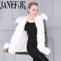 Warm Fox Fur Collar Trimming Women Fur Parkas Coats Faux Fur Lining Winter Out Wear For