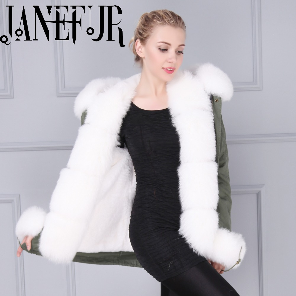 Warm Fox Fur Collar Trimming Women Fur Parkas Coats Faux Fur Lining Winter Out Wear for Men and Women