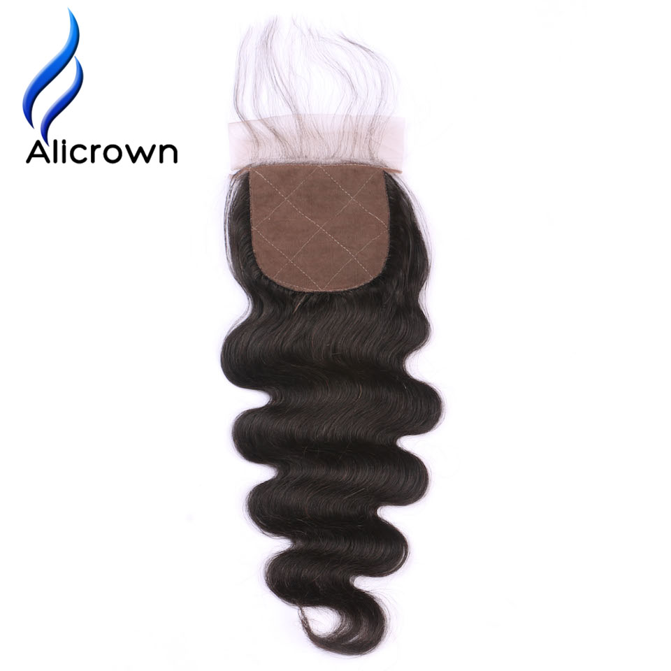 Alicrown Hair Body Wave Silk Base Closure With Baby Hair Brazilian Remy Hair 8~20 inch Free Shipping