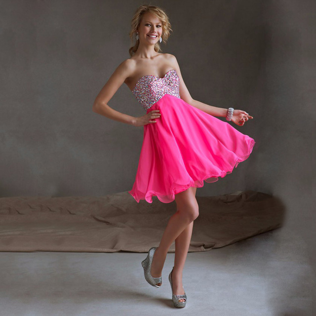 91ad3adc9 Sexy vestidos de 15 anos cortos Sweetheart Chiffon Beautiful Girl Short  Party Dress A-line Prom Dresses With Crystal For Teens