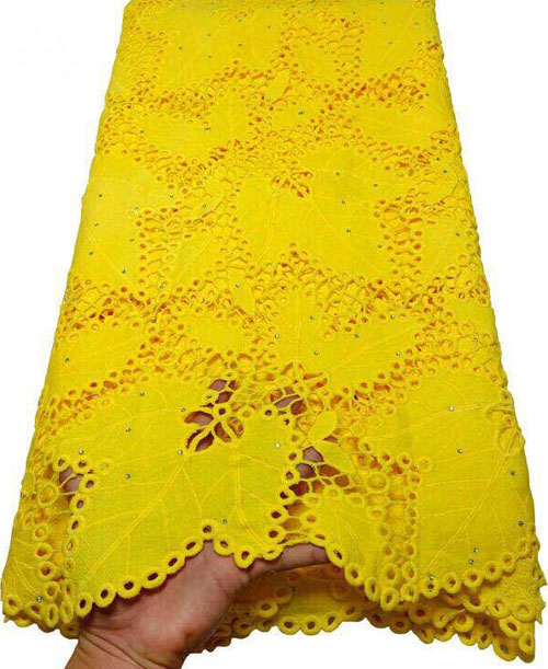 Yellow African Cord Lace Fabric Milk Silk Water Soluble Dress Lace Stones 2019 High Quality Nigerian Guipure Lace Fabric  ETB61