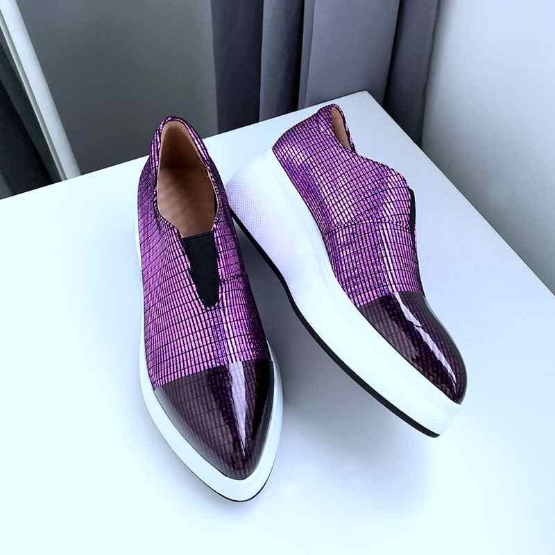 Cuñas de cuero de oveja de maceta Krazing zapatillas de punta puntiagudas de moda brillante casual gladiador zapatos vulcanizados L9f1-in Zapatos vulcanizados de mujer from zapatos    3