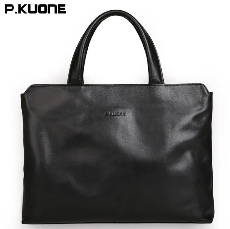 2017 new arrived P KUONE Briefcase Business Shoulder Genuine font b Leather b font Messenger Bags