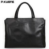 2017 New Arrived P KUONE Briefcase Business Shoulder Genuine Leather Messenger Bags Multifunction Computer Laptop Men