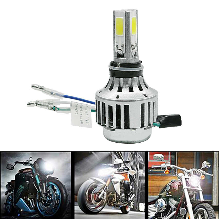 2016 New 1pcs H4 3Sides 18W 2000LM LED DC12-24V Motorcycle Headlight Bulb Headlamp High Low Conversion Beam Driving Motor Lights