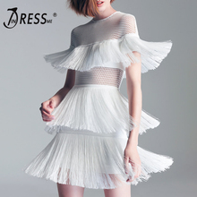 INDRESSME Women Bandage Dress Sexy Hollow Out Mini Short Sleeve Fashion Three Layers Of Tassel O Neck Lady Party Dress Vestidos