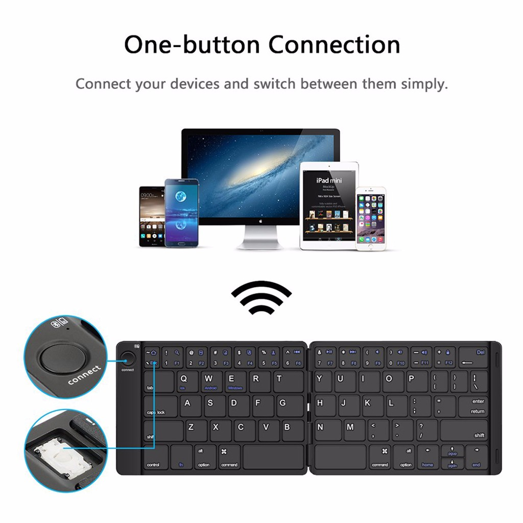 Black SK-B047 Portable Leather Folding Bluetooth Computer Keyboards Wireless Laptop Tablet American English Keyboard