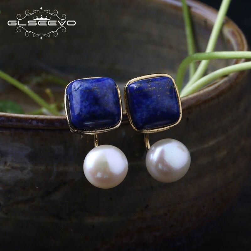 GLSEEVO Carré Naturel Lapis Lazuli Perle D'eau Douce Boucles D'oreilles Pour Les Femmes 925 Argent Oreille Broches Main Fine Jewelry GE0327