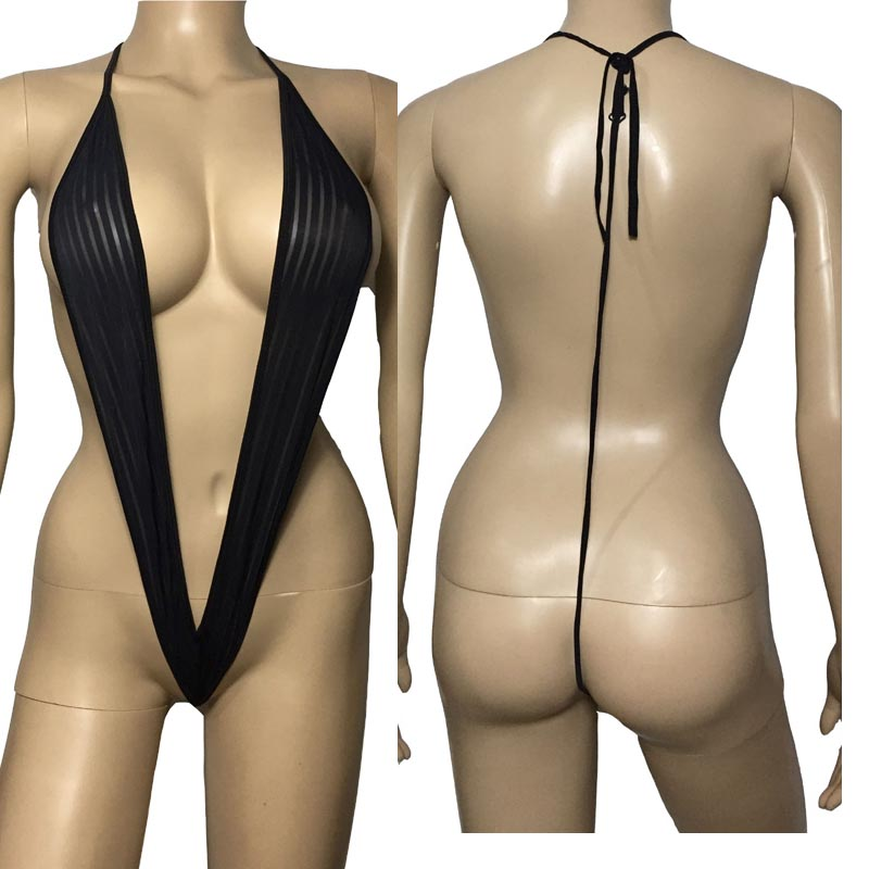 Sexy See Through Stripe Plunge Deep V Teddy Onesie With G-String Bikini Back Role Play Crotchless Lingerie Fantasy Costume