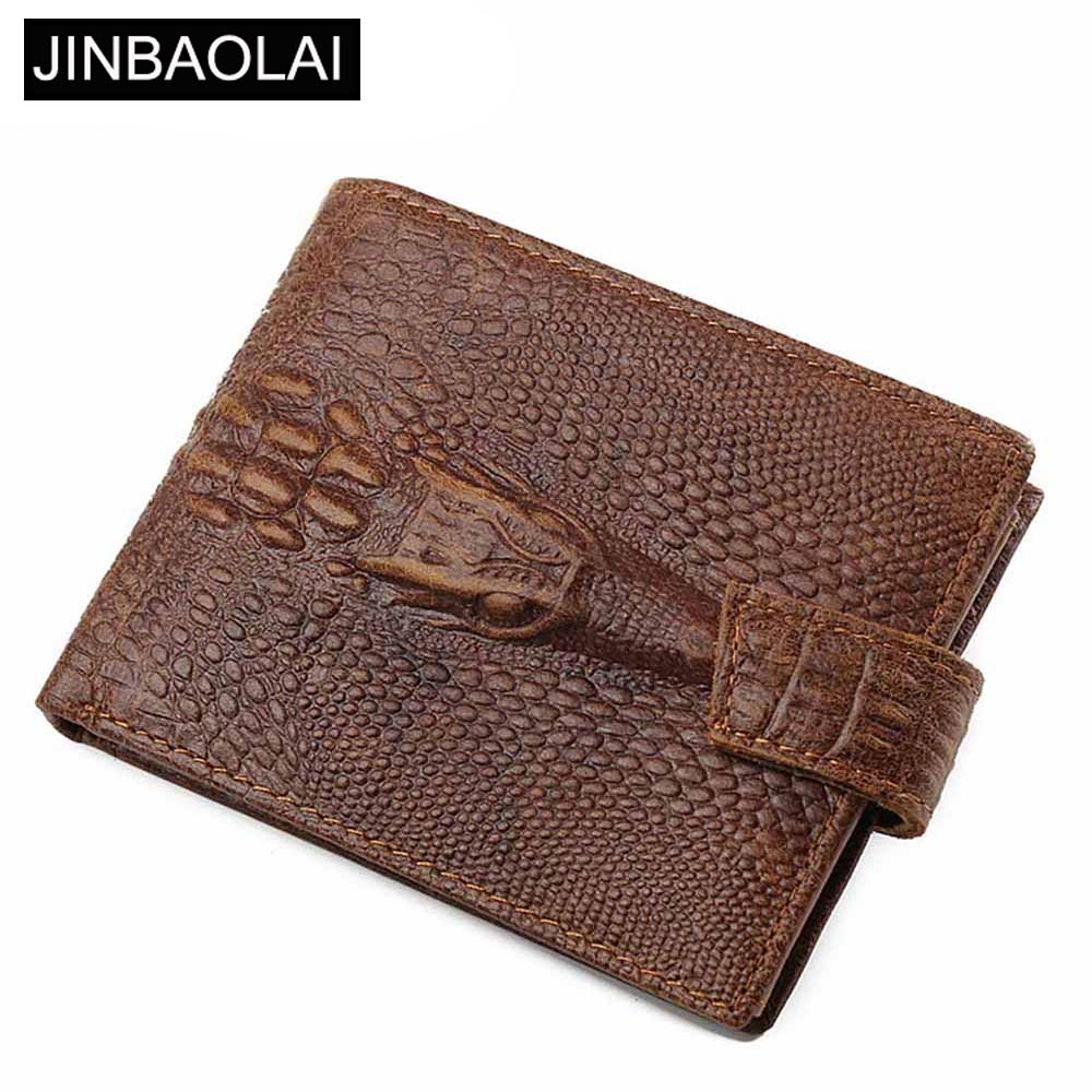 JINBAOLAI Crocodile Pattern Men Wallets Genuine Leather Coin Pocket Short Male Wallet Card Holder High Quality Men Purse
