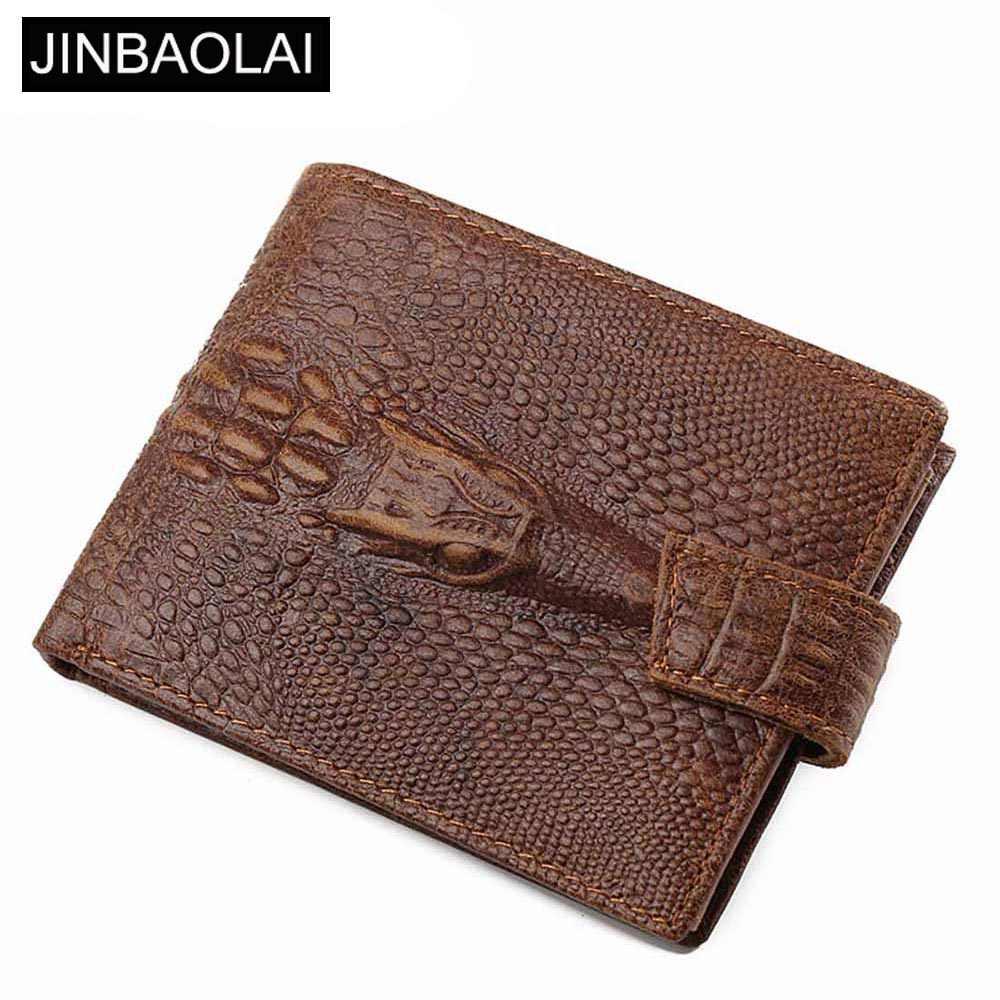 77aa7cac0810 JINBAOLAI крокодил узор для мужчин женские кошельки пояса из натуральной  кожи карман для монет Короткие Мужской
