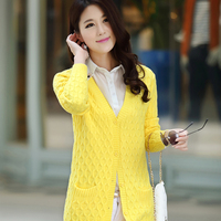 2016 Spring New Korean Version Of The Long Sleeved Cardigan Sweater Dress Size Twist Sweater Coat