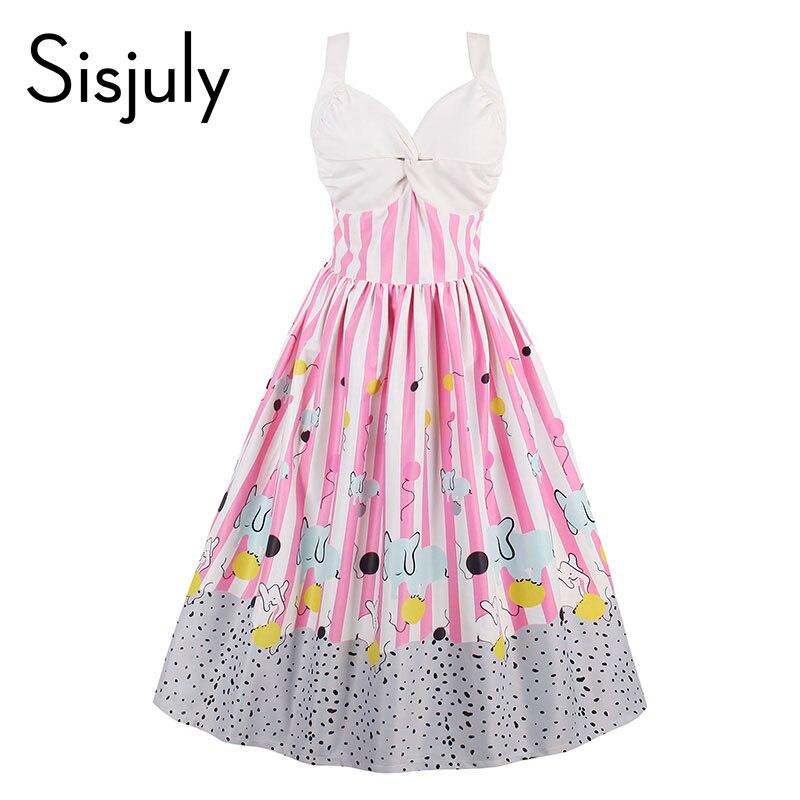 Baratos Sisjuly mujeres vintage dress summer pink raya sin mangas ...