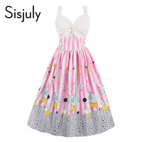 Sisjuly Women Vintage Dress Summer Pink Sleeveless Stripe Party Dress 1950s Cute Playful Style A Line