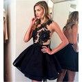 2017 Short Cocktail Dresses Black Dress Jewel Illusion Neck Lace Appliques Mini Prom Dresses Open Back Party Dress JW14
