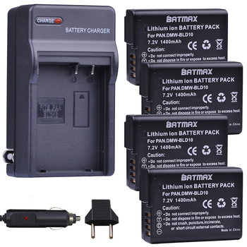 4pc 1400mAh DMW-BLD10 BLD10 BLD10PP Camera Battery+Wall Charger for Panasonic DMW BLD10E,DMC GF2GK GF2 G3 GX1 DMC-GF2 Cameras