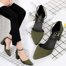купить 5cm with sandals female summer rough with simple word buckle Baotou Rome shoes pointed ol high heel shoes summer ladies sandals дешево