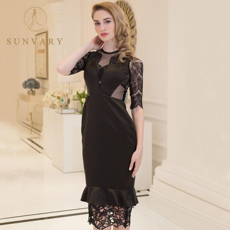 Sunvary Lace Illusion Schwarz Neue Abendkleider Sheer Straps Gerade - Kleider für besondere Anlässe