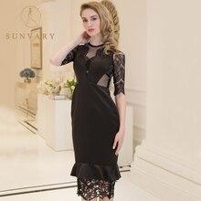 Sunvary Lace Illusion Hitam Evening Dresses Baru Sheer Straps Lurus Formal Partai Dress Zipper Kembali Satin Elegant Pageant Dress