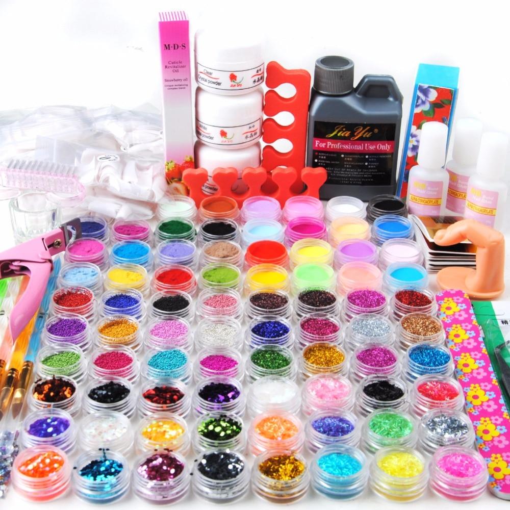 Nail Art Kit 78 Color Glitter Acrylic Powder Glitter