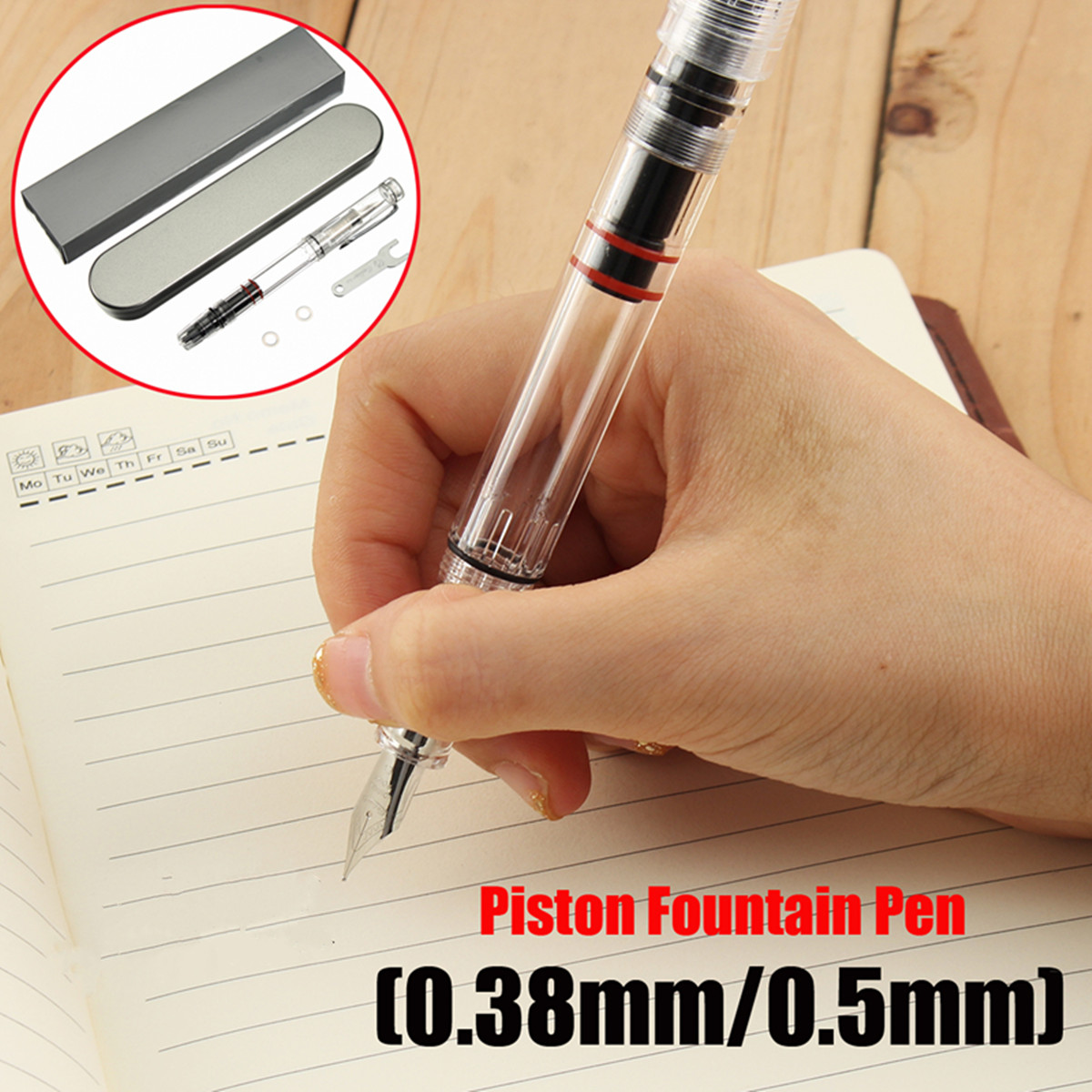 New 1pcs 0.38/0.5mm Fine Nib Transparent Piston Fountain Pen High Quality School Office Stationery Supplies for Students Gift 1pcs excellent quality brand black color fountain pen roller pen case holder fit office school stationery supplies for students