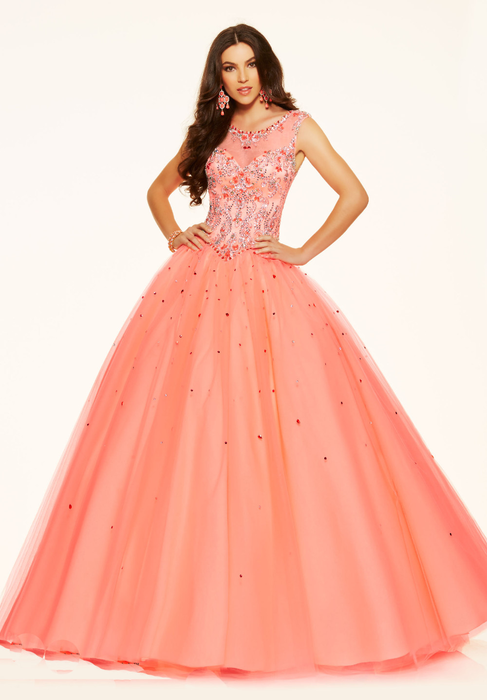 Beautiful Puffy Ball Gown Princess Peach Prom Dresses With Corset ...
