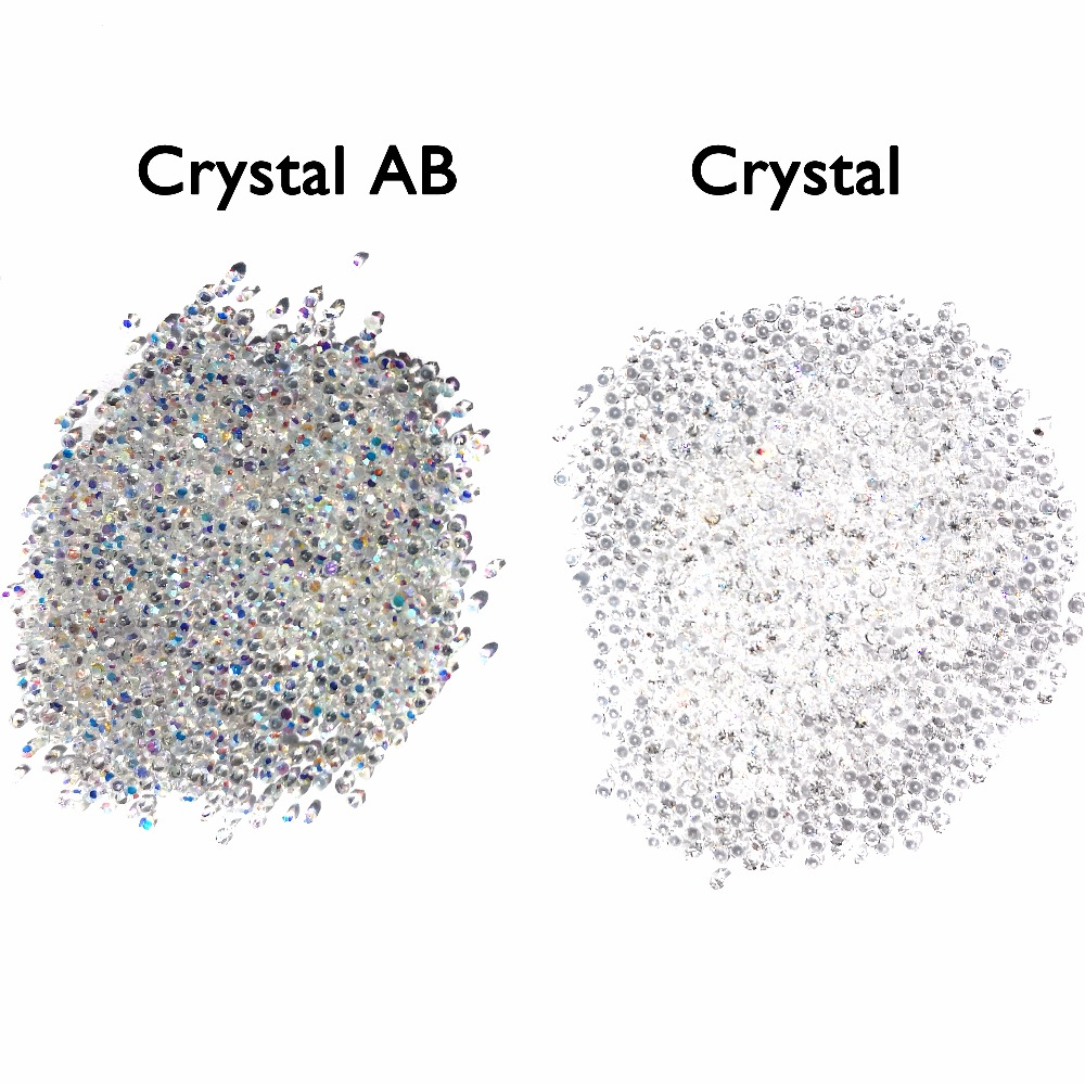 UNfoiled MIX Sizes 1440pcs Crystal&AB  Chaton Nail Art Pointed Rhinestone Micro Manicure Decoration Tiny Mini Pixie Rhinestones 1 pack micro bead rhinestone crystal pixie caviar beads mini nail art decorations tiny 3d ab glitter rhinestones diy manicure