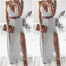 ZOGAA Summer Women Slim Chiffon Stripe Dresses Womens Boho Printing Sleeveless Off Shoulder Casual Elegant Maxi Dress