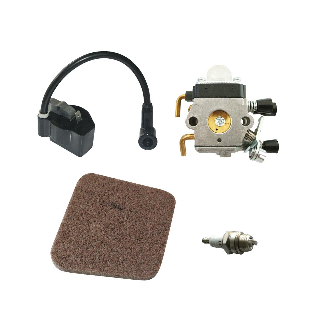 Carburetor Ignition Coil Spark Plug Air Filter For STIHL FS38 FS45 FS46 FS55 KM55 Brushcutter Trimmer carburetor carburador gasket for stihl fs38 fs45 fs46 fs55 fc55 fs74 fs75 fs76 fs80 km55 km80 km85 carb zama c1q s143 c1q s153