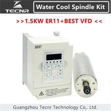 TECNR 1.5KW 220V 380V water cooled spindle motor kit ER11 with 1.5KW BEST VFD inverter for cnc router