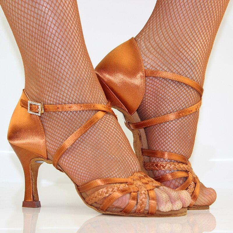 Chaussures de danse latine femme adulte fond souple Awl talon Salsa chaussures de danse carrées BD chaussures latines véritable 2365 diamant de Satin importé