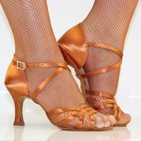 Latin Dance Shoes Woman Adult Soft Bottom Awl Heel Salsa Square Dance Shoes BD Latin Shoes Genuine 2365 Imported Satin Diamond