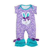 Newborn Baby Bunny Pattern Cotton Bodysuits Ruffle Easter Infant Boutique Girls Purple Popular Clothing With