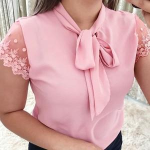 Umeko Lace Up Bow Tie Shirt 2019 Summer Short Sleeve Chiffon Casual Blouse Plus Size 5xl Office Lady Blusas