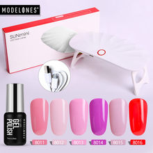 Modelones 6W Mini LED 6 Warna Kuku Gel Polandia Set Semi Permanen Hybrid Gel Lacquer Smart Sensor Pengering nail Varnish Kit(China)