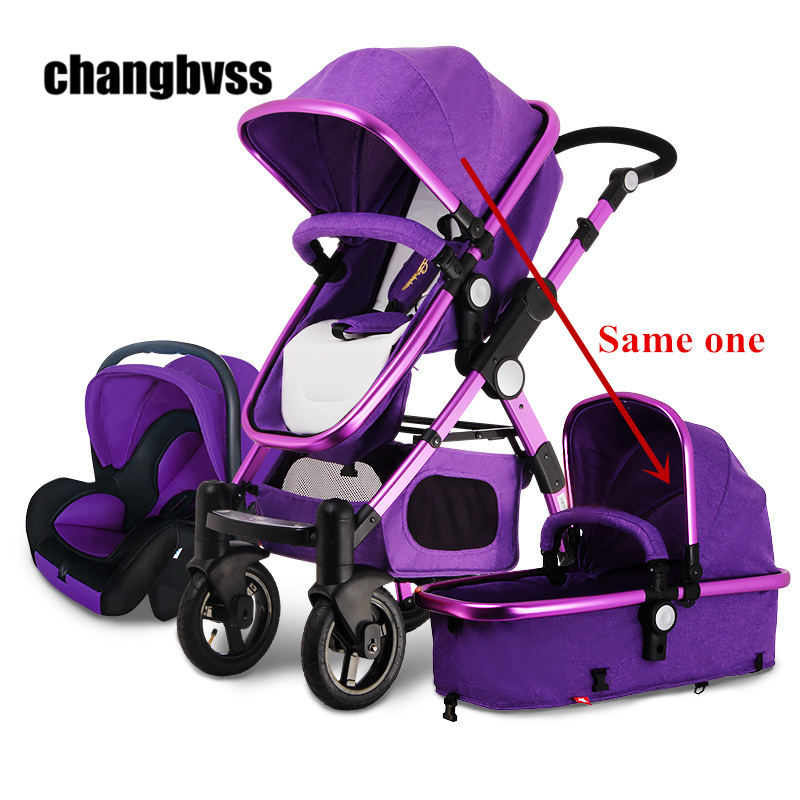 2016 New Arrival Brands Luxury Baby Stroller 3 in 1 High Landscape Kids Baby Pram with Car Seat poussettes 3 en 1 Free Shipping все цены