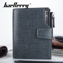 Baellerry Men Short Solid Casual Wallet Coin Pocket Note Compartment Card Photo Holder PU Leather Zipper Hasp