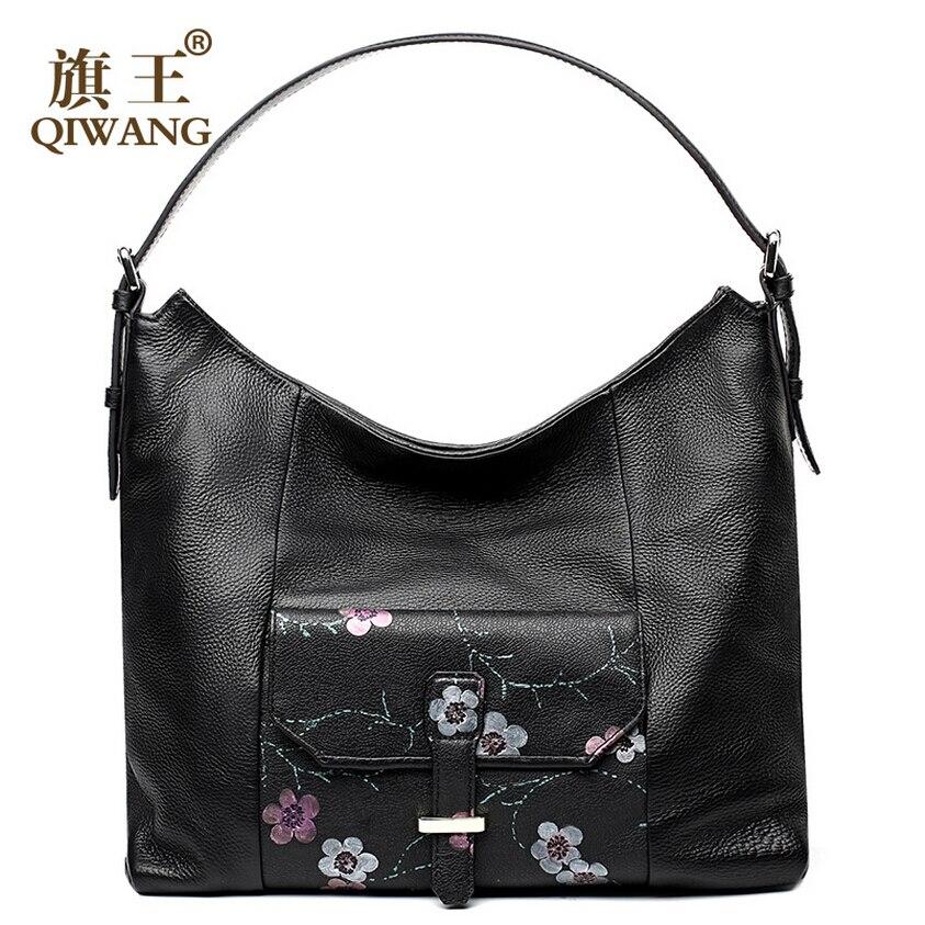 QIWANG women bag 2017 new genuine leather bag fashion printing fashion quality tote women bag leather handbags shoulder bag