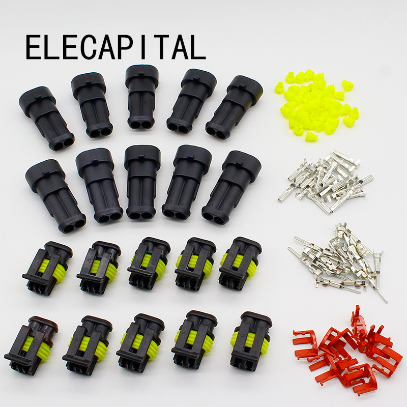 Promotion! 10 Kit 2 Pin Way Waterproof Electrical Wire Connector Plug