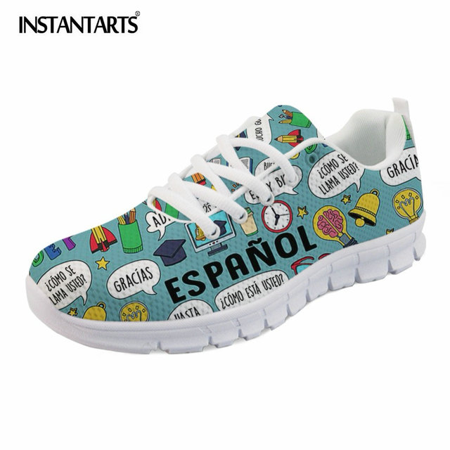 INSTANTARTS Sneakers Spanish Teacher NEW Fashion Women Flats Shoes Casual  Comfortable Breathable Ladies Shoes Chaussures Femme d693bbca6
