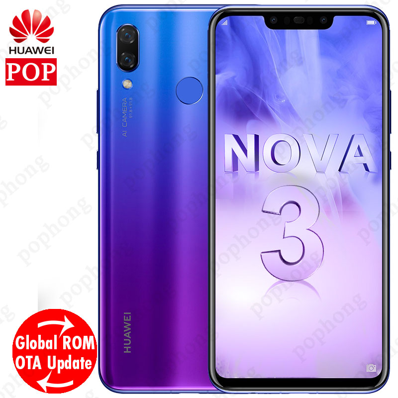 Global Firmware Original Huawei nova 3 nova3 6GB RAM Mobile Phone Kirin 970  Qcta-core Dual Front Back Camera 24 0MP+2 0MP