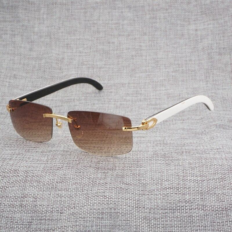 Mélange noir blanc naturel buffle corne lunettes de soleil hommes bois sans monture miroir Gafas pour Club de conduite lunettes claires Oculos nuances 012
