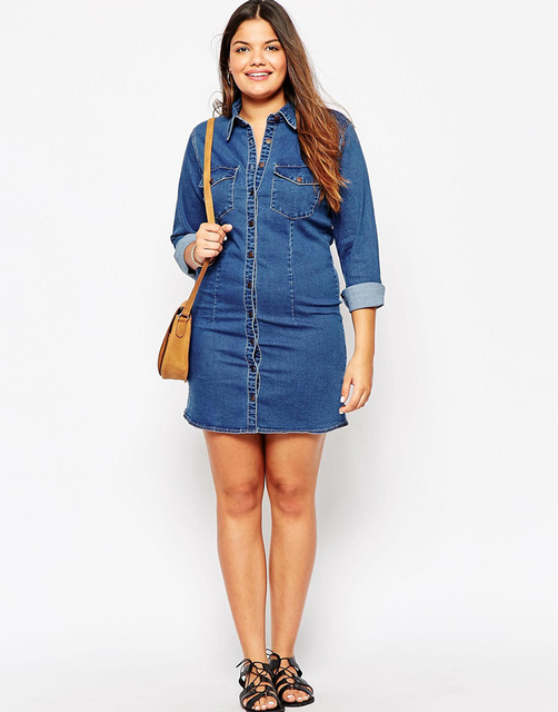 cb088613af 2016 Autumn Street Denim Shirt Dress American Apparel Winter Jacket Style  Women Office Dresses High Quality Plus Size 6xl 7xl