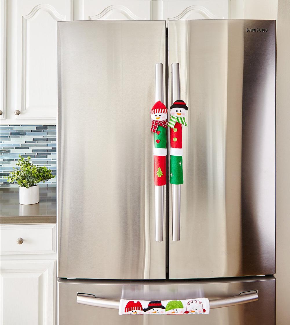 Details about  /8 Pieces Refrigerator Door Handle Covers Santa Snowman Kitchen Appliance Covers