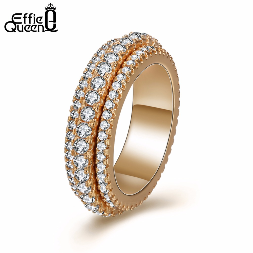 Effie Queen dubbla lager Design roterande ring Klassiska kvinnor Cubic Zirconia Studded Finger Rings anillos mujer bague DDR11