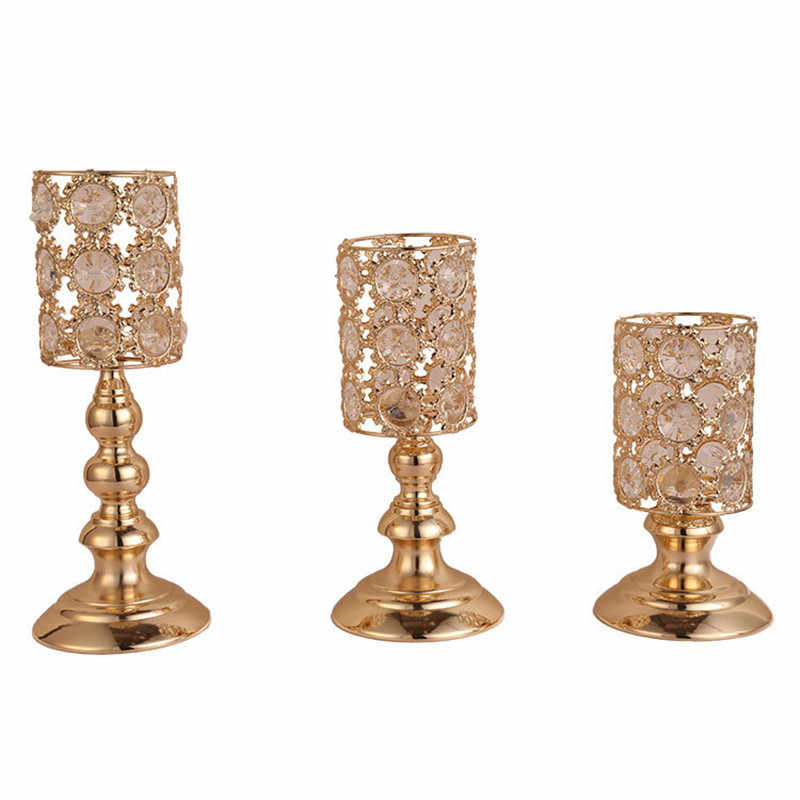Gold Metal Candle Holder Home Decor Crystal Candlestick Wedding Candle Stand Road Lead