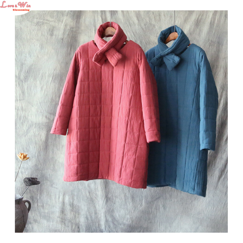Long Warm Cotton Clothes with Neckerchief Invisible Pockets Winter Women Thick Casual Pullover Cotton Garment