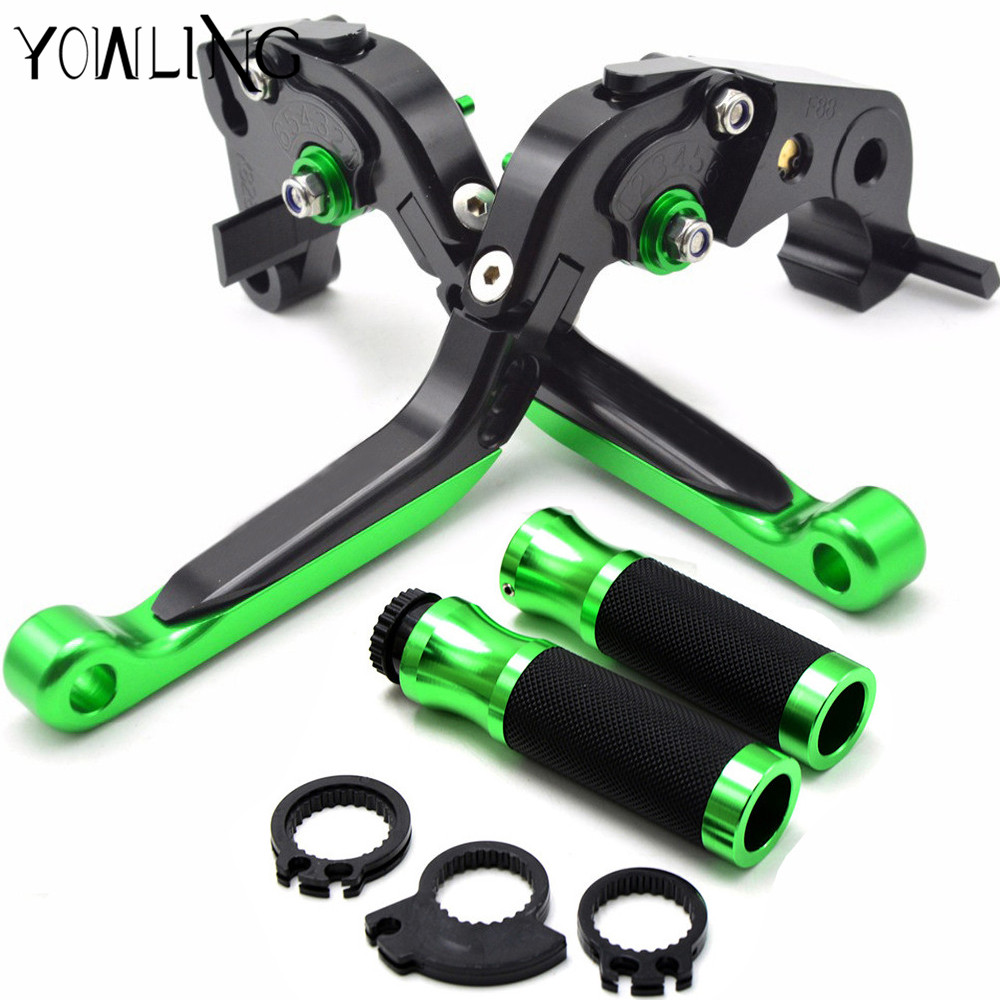 Motorcycle handle bar grips 22MM levers brake clutch For Kawasaki ZX6R/636 2007-2016 2008 2009 2010 2011 2012 2013 2014 2015 cnc brake clutch levers fit for kawasaki zx6r 2007 2008 2009 2010 2011 2012 zx10r 2006 2007 2008 2009 2010 2011 2012 zx 10r